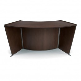 OFM Marque ADA Wheelchair Accessible Curved Reception Desk in Walnut