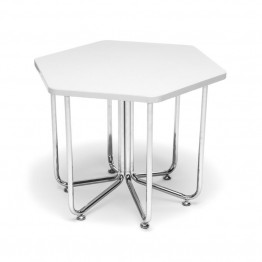 OFM Hex Reception End Table in White