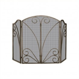 Uniflame 3 Fold Venetian Bronze Screen with Decorative Scrollwork
