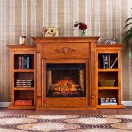 Southern Enterprises Tennyson Infrared Electric Fireplace in Pine