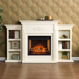 Southern Enterprises Tennyson Infrared Electric Fireplace in Ivory