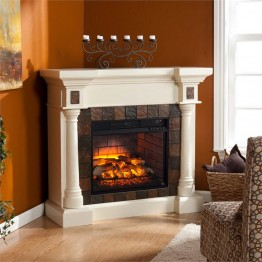 Southern Enterprises Carrington Faux Slate Corner Fireplace in Ivory