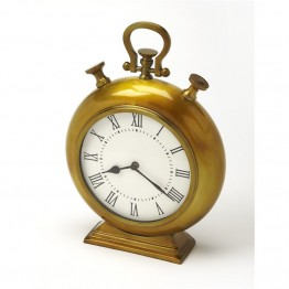 Butler Specialty Hors Doeuvres Kenilworth Desk Clock in Antique Brass
