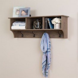 "Prepac 48"""" Wide Hanging Entryway Shelf in Drifted Gray"