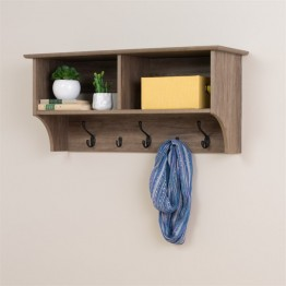 "Prepac 36"""" Wide Hanging Entryway Shelf in Drifted Gray"