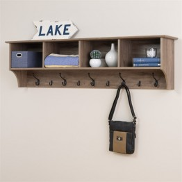 "Prepac 60"""" Wide Hanging Entryway Shelf in Drifted Gray"