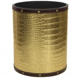 Oriental Furniture Faux Leather Waste Basket in Gold