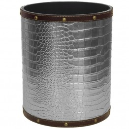 Oriental Furniture Faux Leather Waste Basket in Silver