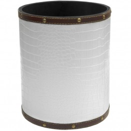 Oriental Furniture Faux Leather Waste Basket in White