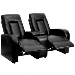 Flash Furniture 2 Seat Leather Reclining Home Theater Seating in Black