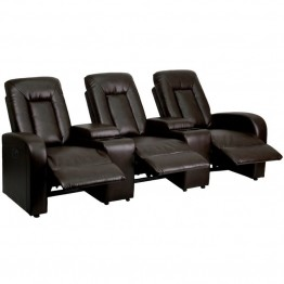 Flash Furniture 3 Seat Leather Reclining Home Theater Seating in Brown