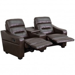 Flash Furniture 2 Seat Leather Reclining Home Theater Seating in Brown