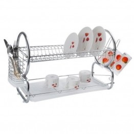"Alpine Cuisine 22"""" Square End Dish Rack in Chrome"