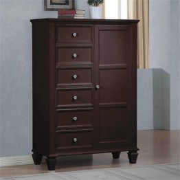 Bowery Hill 6 Drawer Armoire with Door in Cappuccino