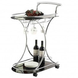 Bowery Hill Serving Cart with 2 Frosted Glass Shelves in Black