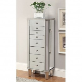 Bowery Hill Mirrored Jewelry Armoire in Antique Silver