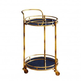 Abbyson Living Blake 2 Tier Cylinder Bar Cart in Gold