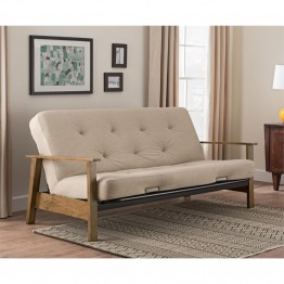 DHP Bergen Wood Arm Futon with 6'' Coil Mattress in Tan Linen