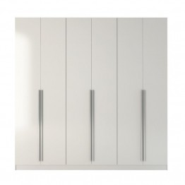 "Bowery Hill 90.5"""" Wardrobe in Glossy White"