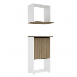 Bowery Hill Microwave Stand with Wall Shelf in Oak and White