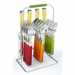 Fiesta Multicolor 16 Piece Flatware Set with Rack