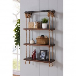 "Armen Living 24"""" Brannon Wall Display Shelf in Silver"