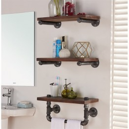 "Armen Living 20"""" Conrad Industrial Wall Display Shelf in Silver"