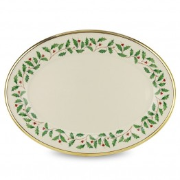 "Lenox Holiday 16"""" Oval Ivory Bone China Platter with Gold Rim"