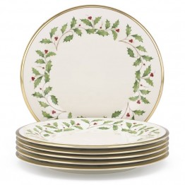 Lenox Holiday Ivory Bone China Dinner Plate with Gold Rim (Set of 6)