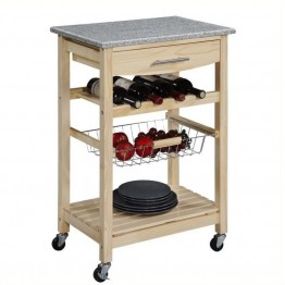 Pemberly Row Granite Top Kitchen Cart in Natural