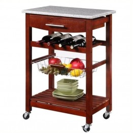 Pemberly Row Granite Top Kitchen Cart in Wenge