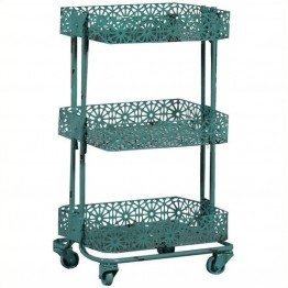 Pemberly Row Metal 3 Tier Cart in Turquoise