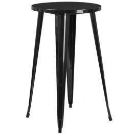 Flash Furniture Metal Patio Bistro Table in Black