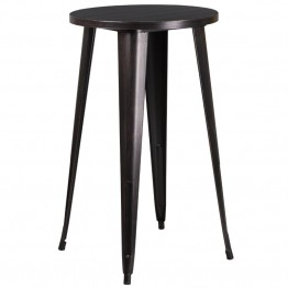 Flash Furniture Metal Patio Bistro Table in Antique Black