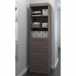 "Bestar Pur 25"""" Storage Unit with 3-Drawer Set in Bark Gray"