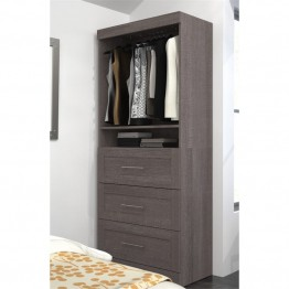 "Bestar Pur 36"""" Storage Unit with 3-Drawer Set in Bark Gray"