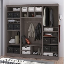 "Bestar Pur 86"""" Mudroom Storage Kit in Bark Gray"