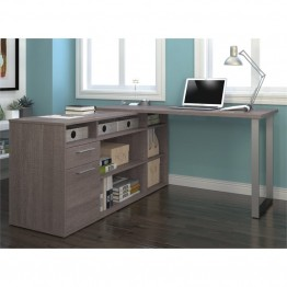 Bestar Solay L-Shaped Desk in Bark Gray