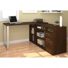 Bestar Solay L-Shaped Desk in Chocolate
