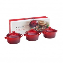 Le Creuset 8 oz. Mini Cocotte in Cherry (Set of 3)