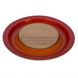 "Le Creuset 15"""" Round Platter with Cutting Board in Flame"