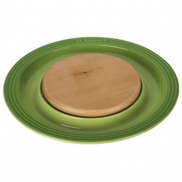 "Le Creuset 15"""" Round Platter with Cutting Board in Palm"