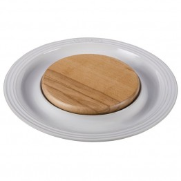 "Le Creuset 15"""" Round Platter with Cutting Board in White"