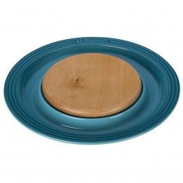 "Le Creuset 15"""" Round Platter with Cutting Board in Caribbean"