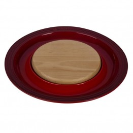 "Le Creuset 15"""" Round Platter with Cutting Board in Cerise"