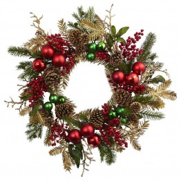 Nearly Natural Ornament Pine and Pine cone Wreath