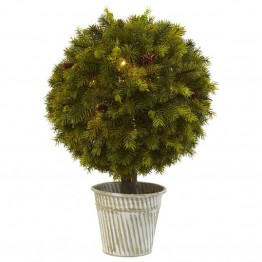 Nearly Natural Pine Ball in Iron Top in Green