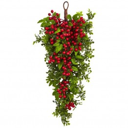 Nearly Natural Berry Boxwood Teardrop in Red