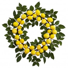 Nearly Natural Lemon Wreath in Yellow