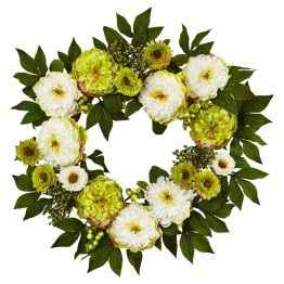 Nearly Natural Peony Mum Wreath in Green and White